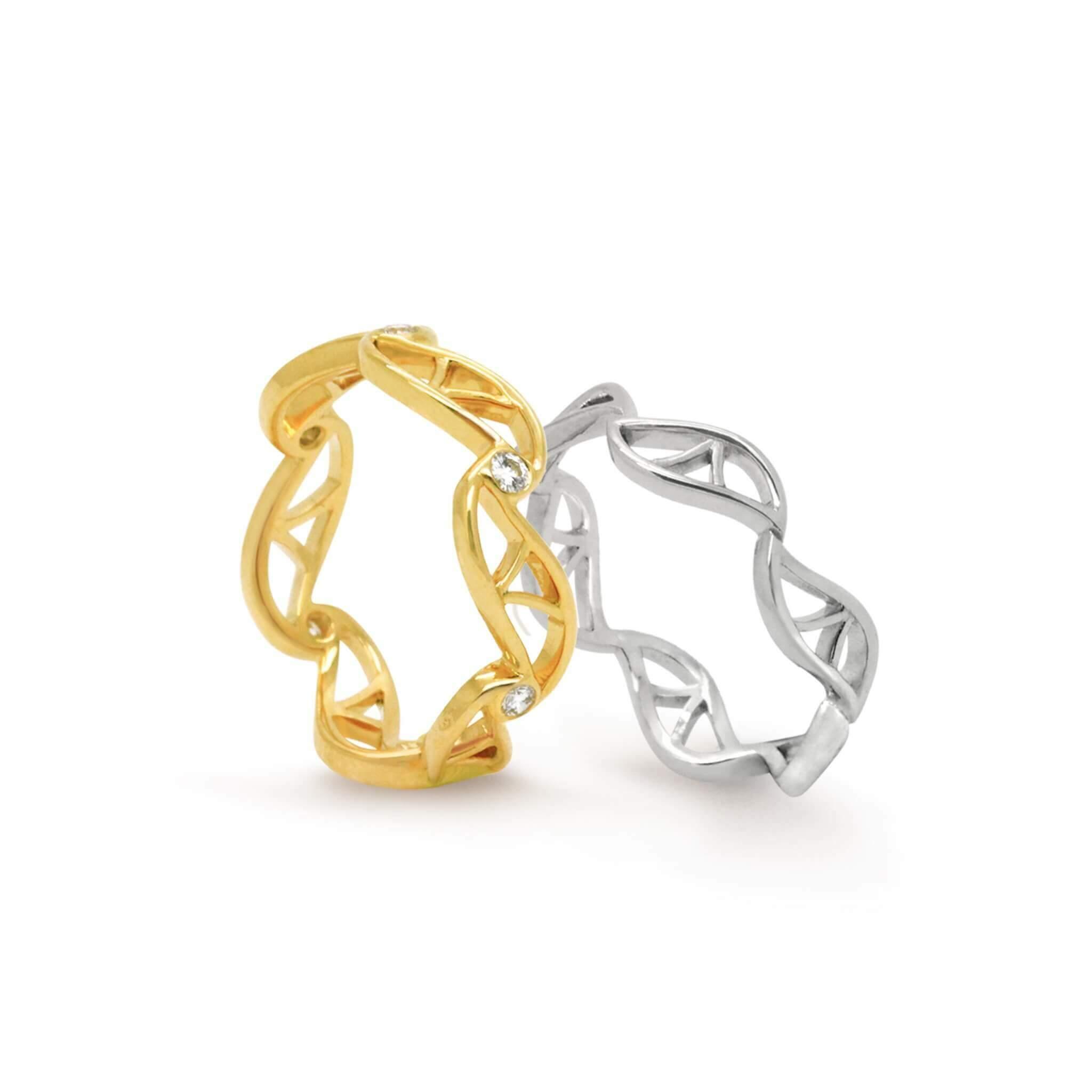 feuille bague alliance en or rose or blanc or jaune et diamants