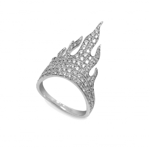 Flamme bague or blanc diamant
