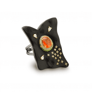 Terre bague onyx saphir orange