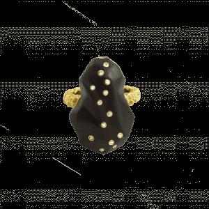 Terre bague or jaune onyx