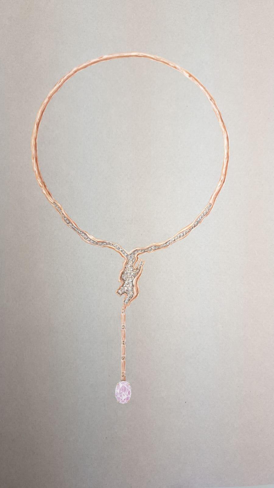 Miscible Collier en or rose serti d'un saphir rose  saphir rose diamants champagnes