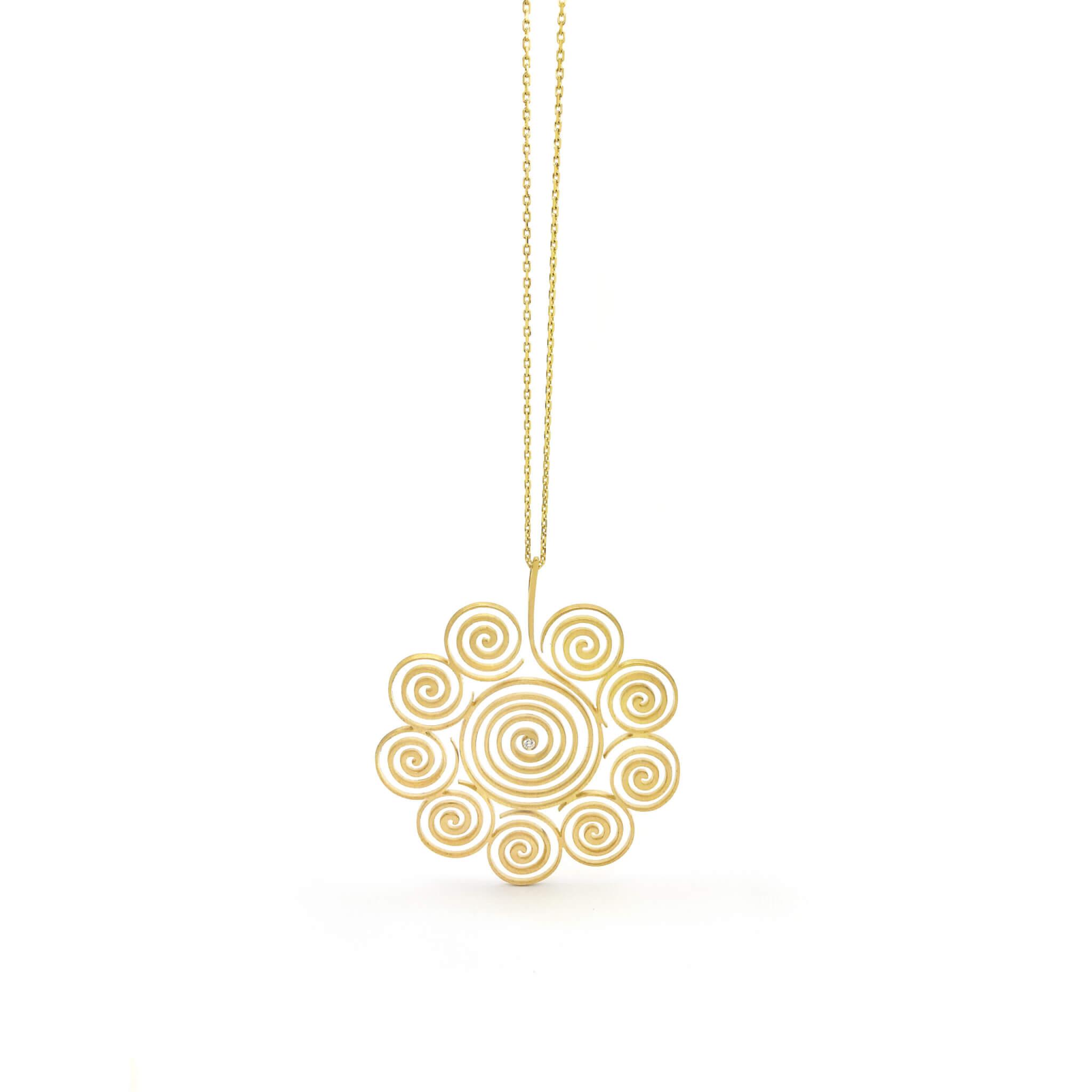 Spirale collier or diamant