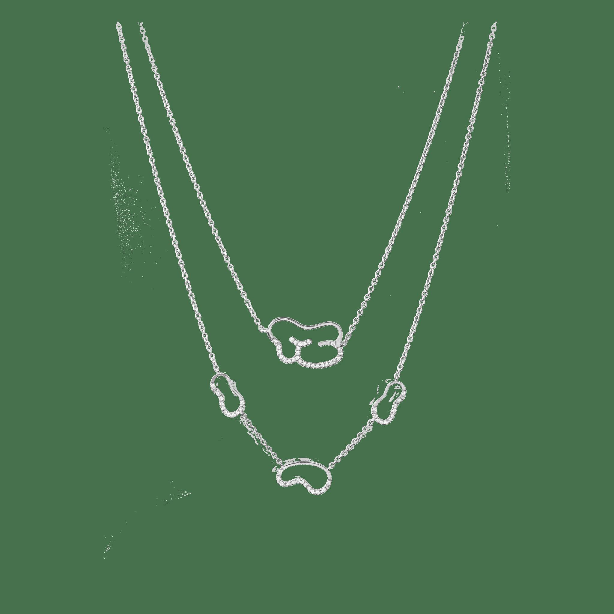 empreinte collier or blanc diamant