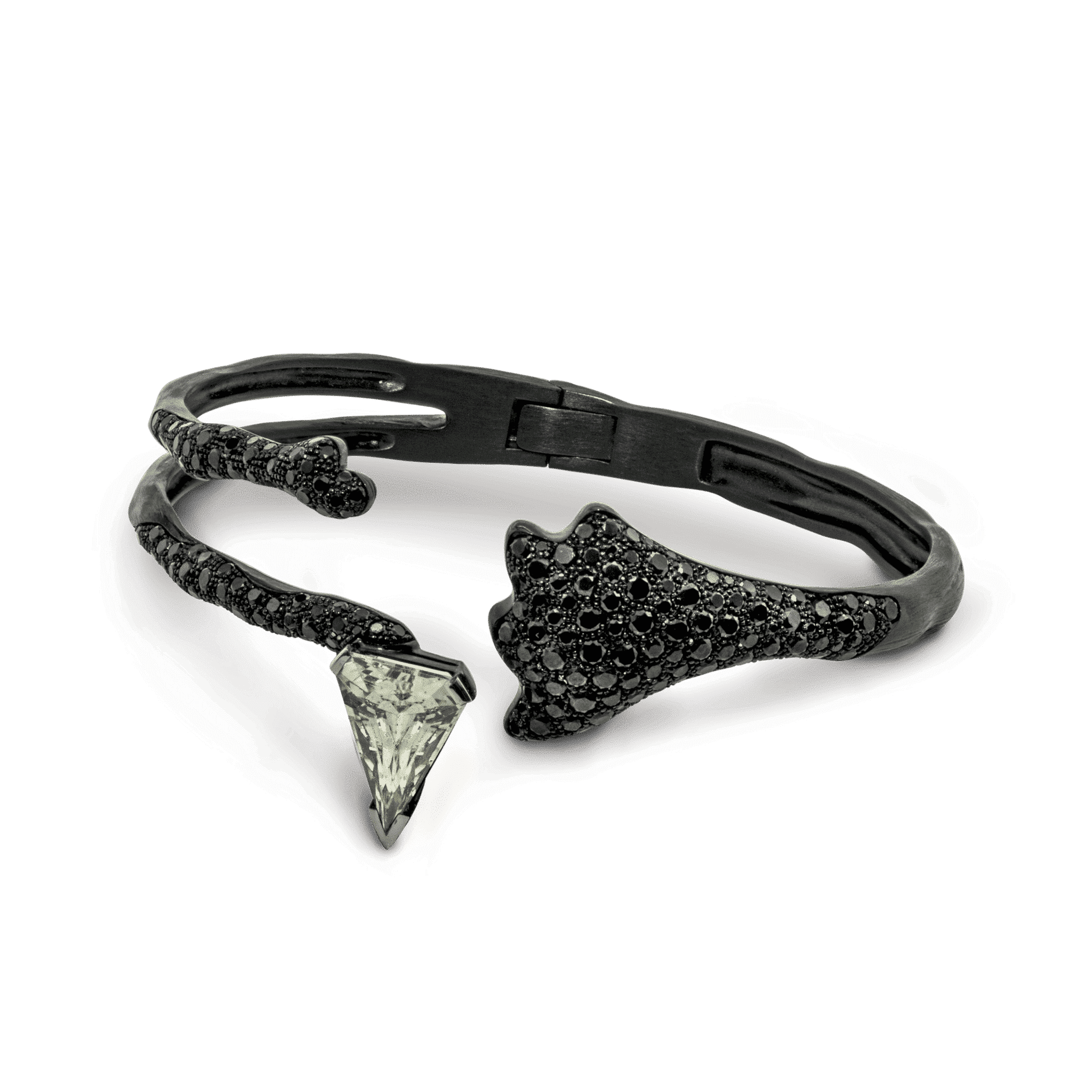 Missible bracelet or noir et saphir blanc