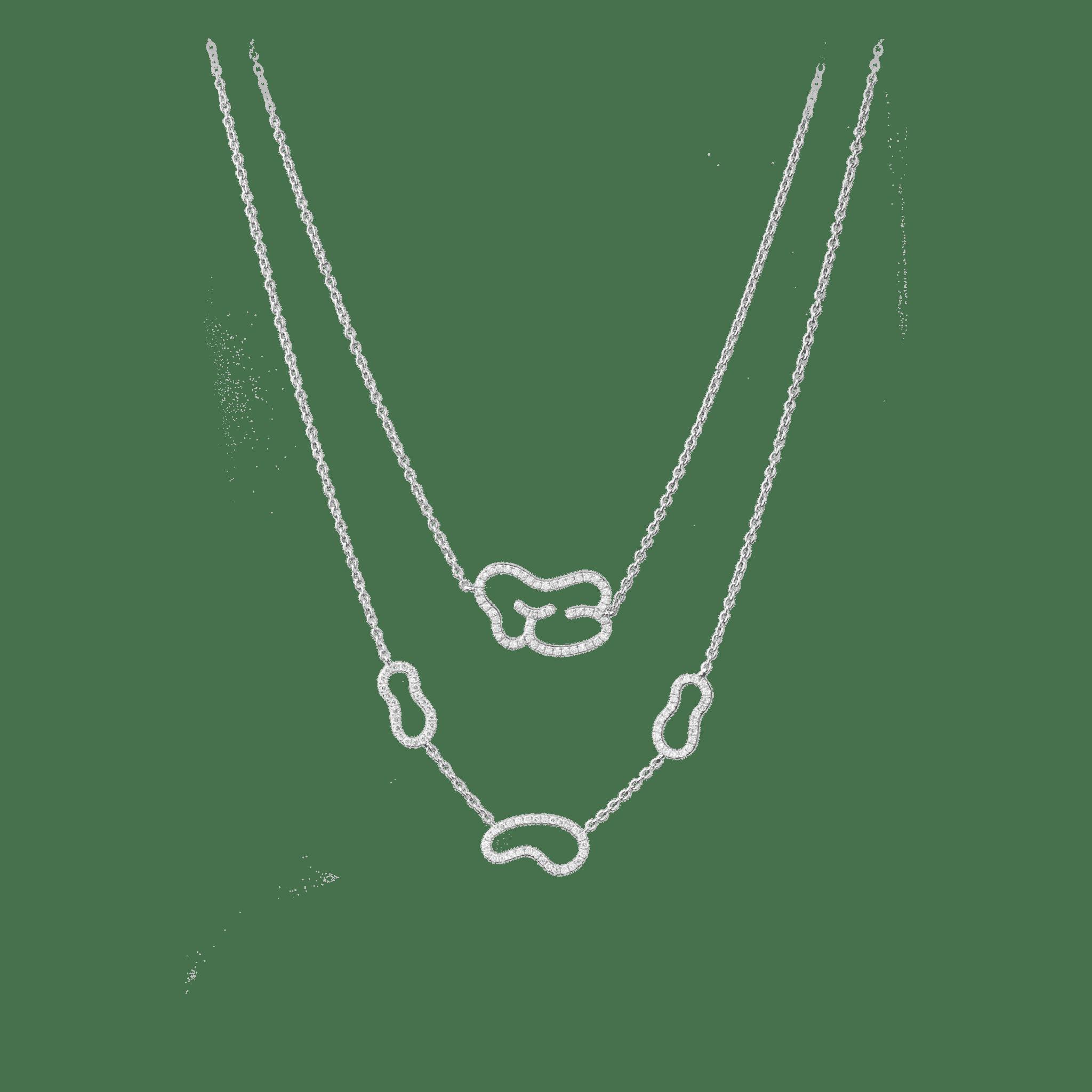 Empreinte collier or blanc et diamant