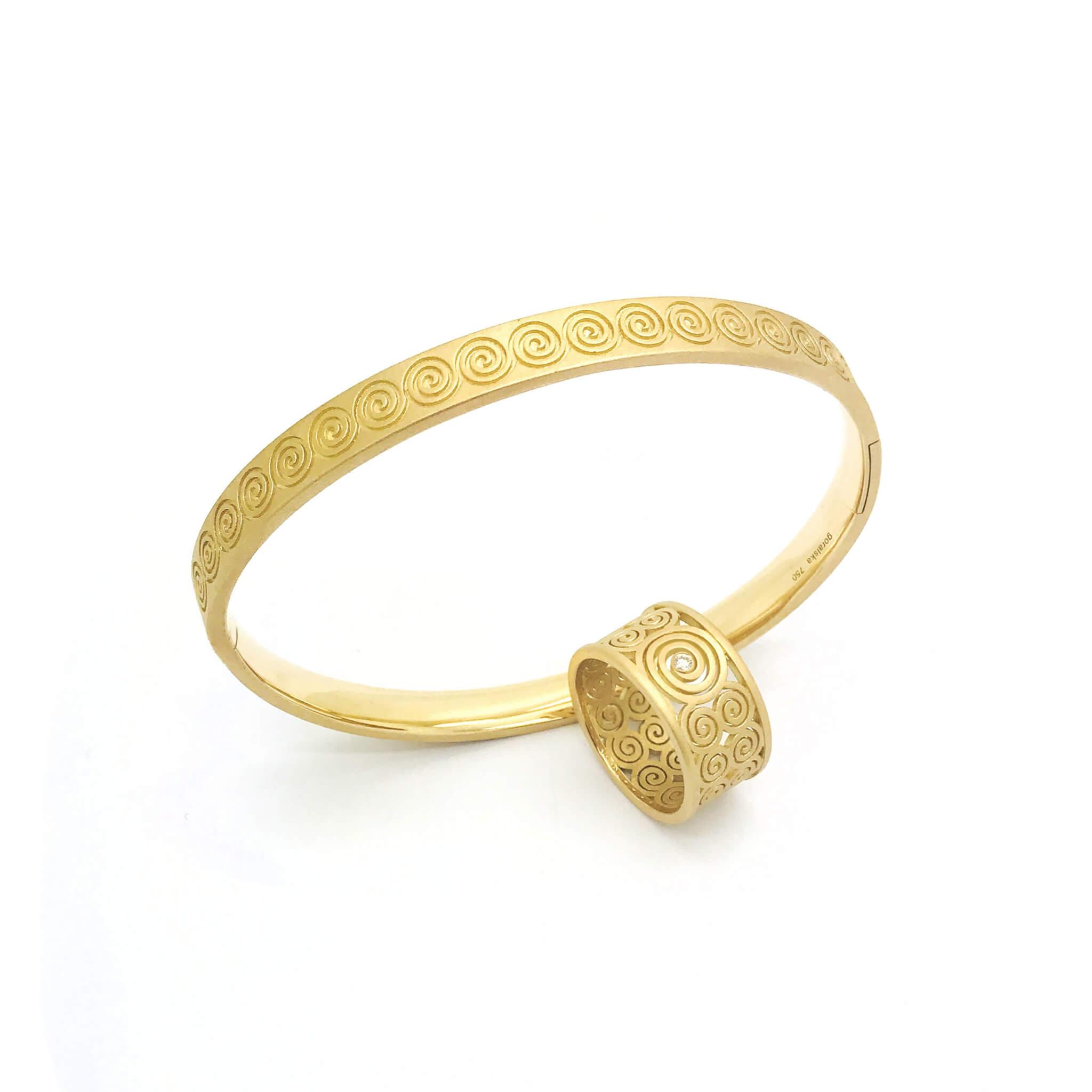 Spirale bague et bracelet or