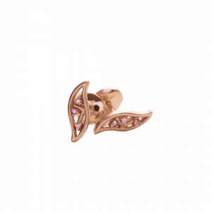 Feuille boucle d'oreilles or rose saphir