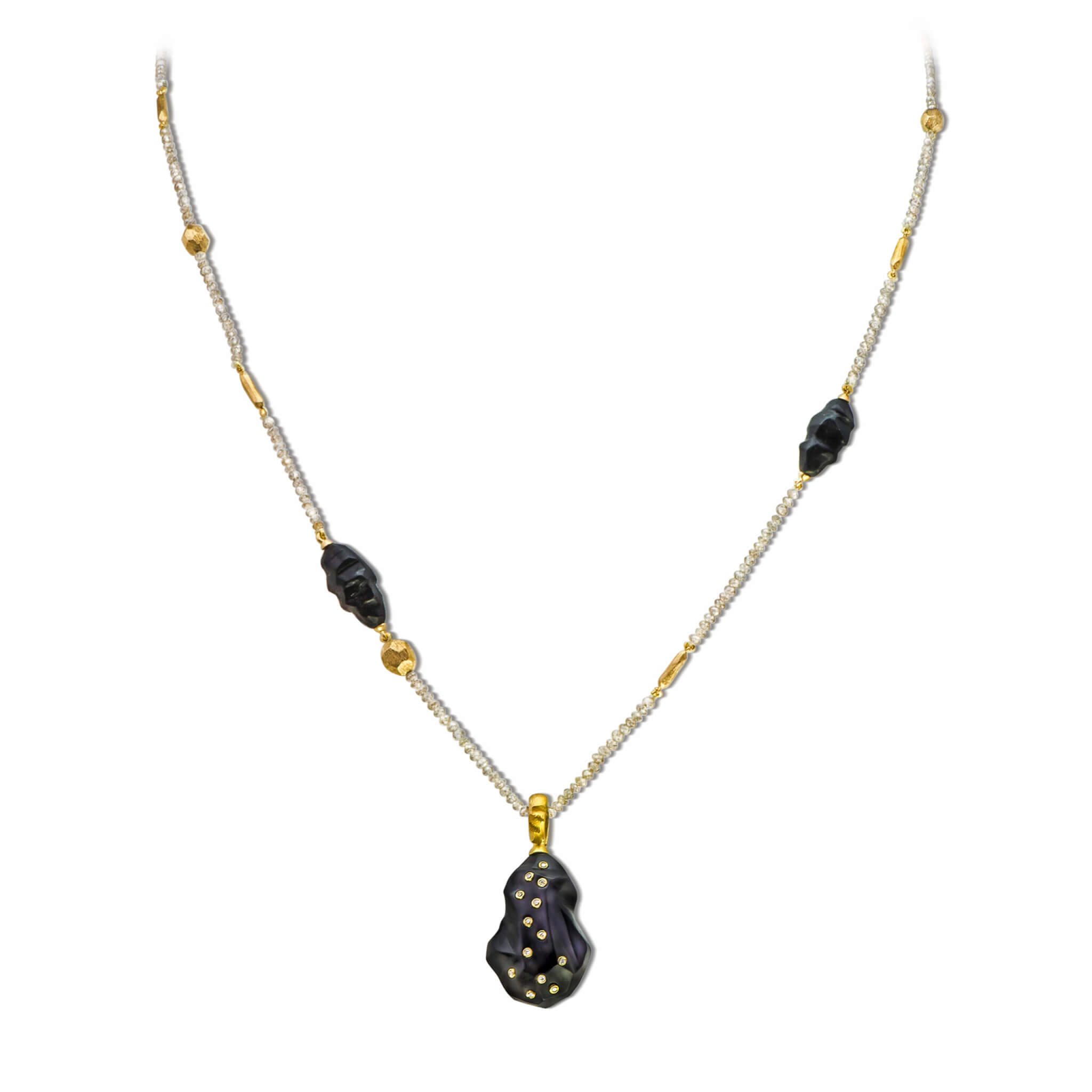Terre collier or jaune  briollets onyx
