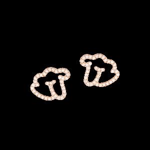 Empreinte boucle d'oreilles or rose diamants