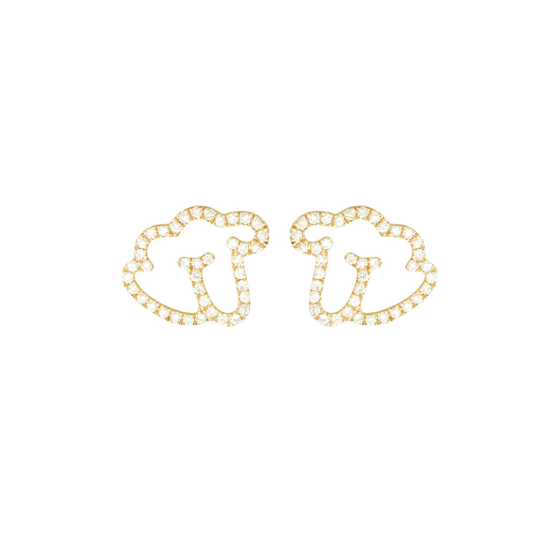 Empreinte boucle d'oreilles or jaune diamant