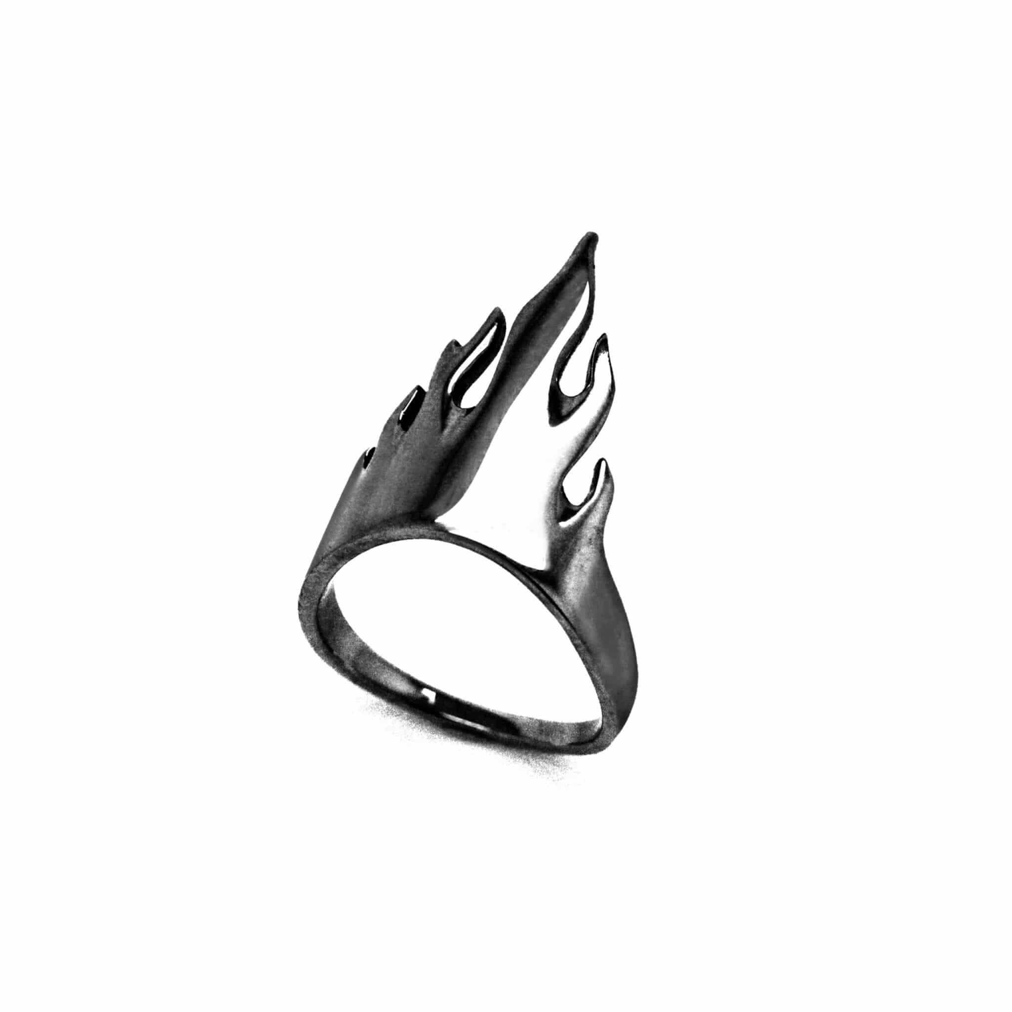 flamme bague or noir