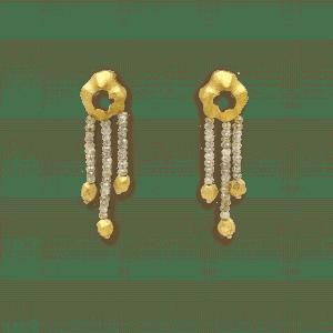 Terre boucles d'oreilles or jaune et briollets