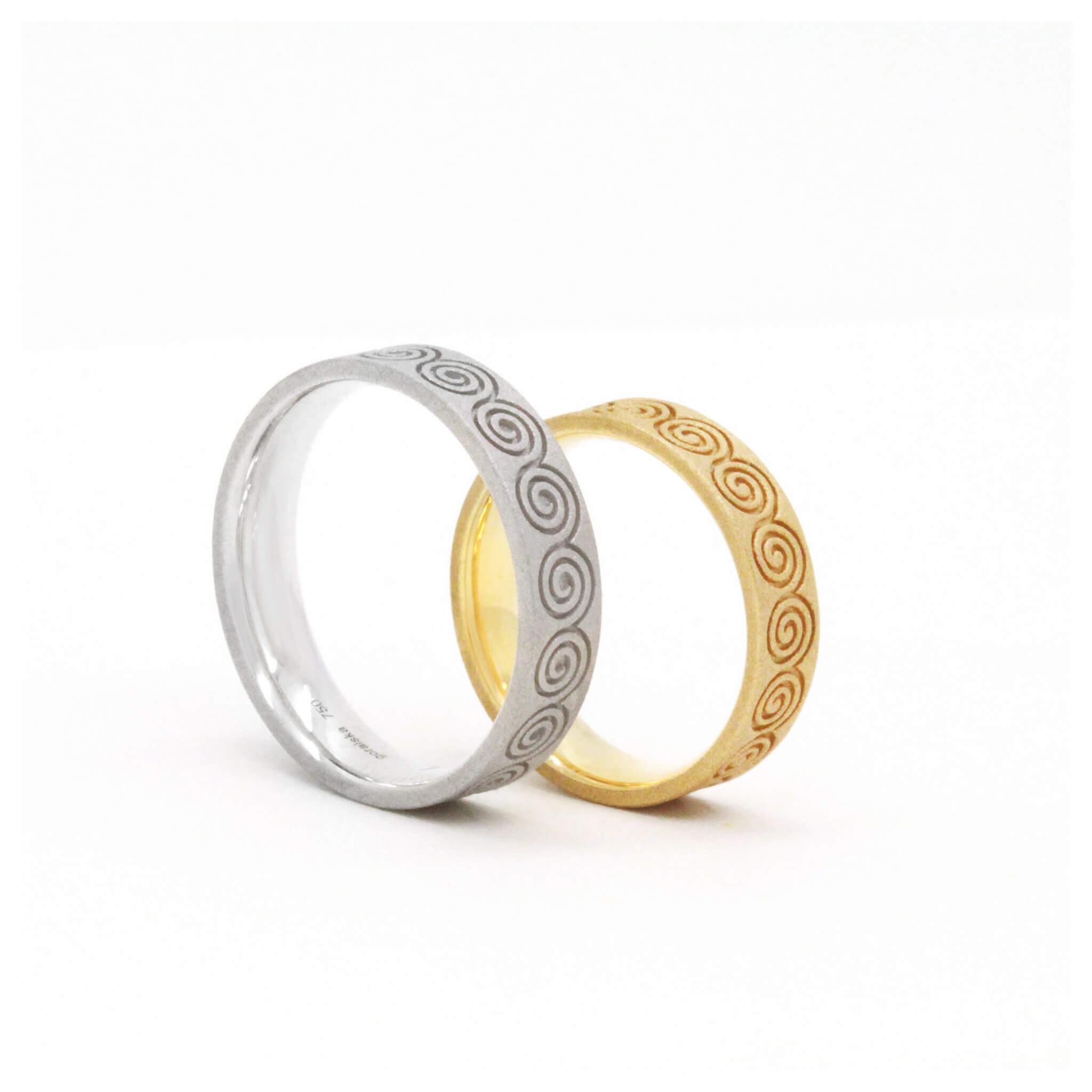 Spirale alliance or blanc et or jaune
