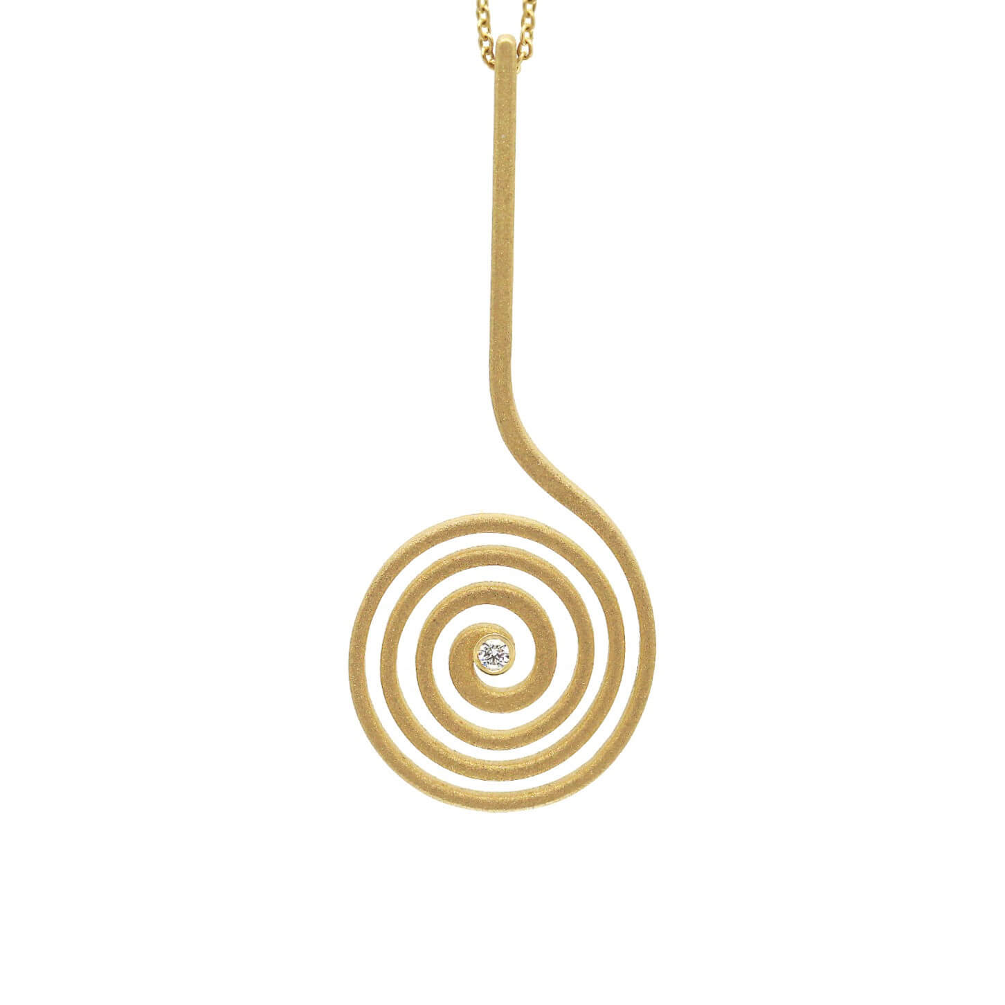 Spirale boucle collier or diamant