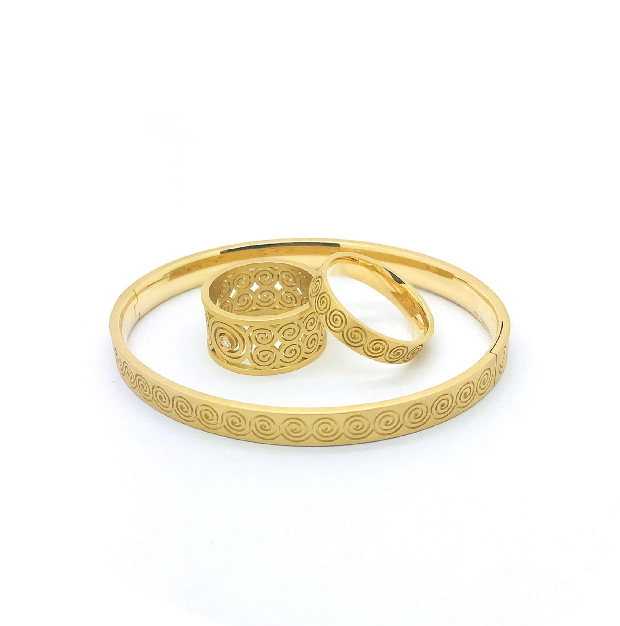 Spirale bague or bracelet or