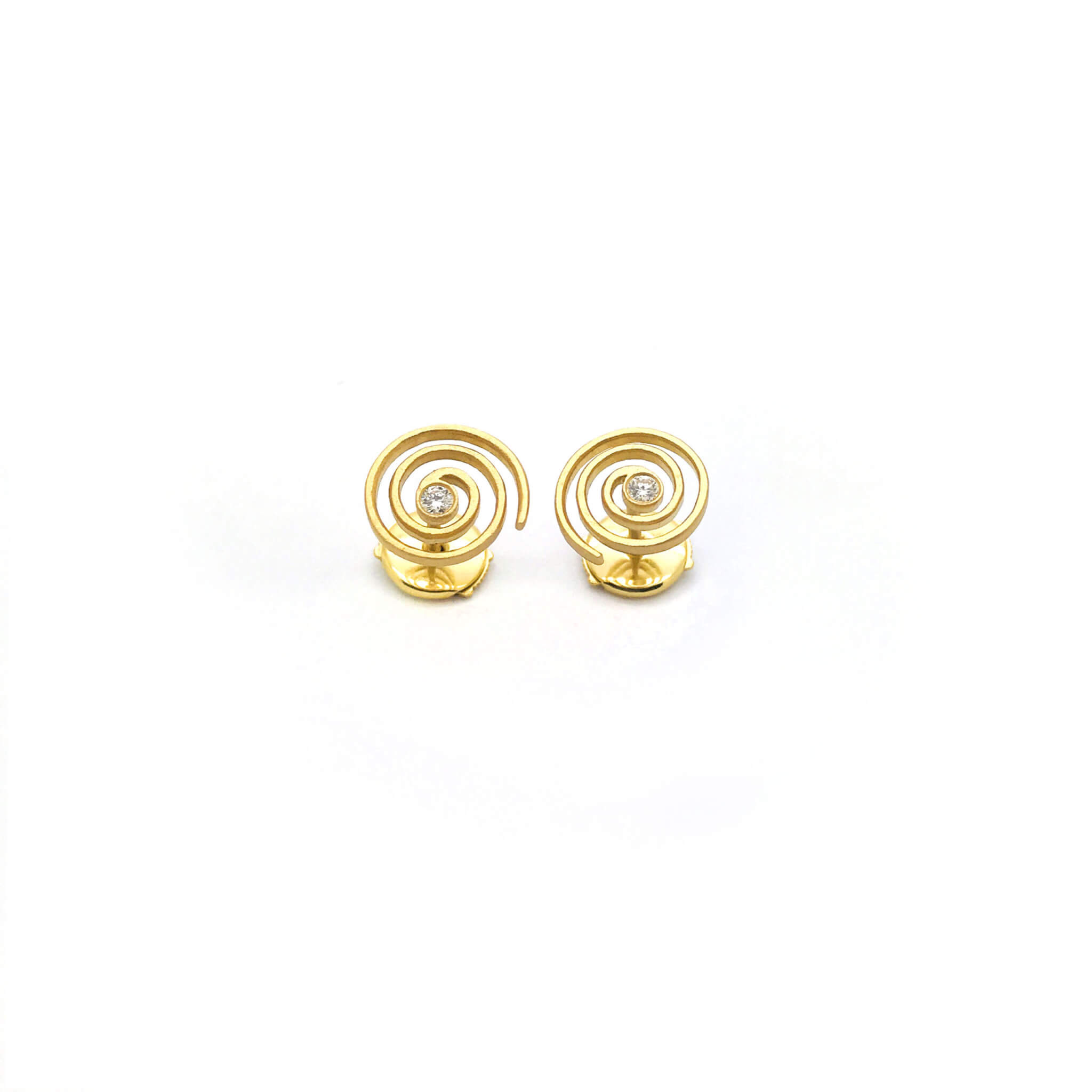 Spirale boucle d'oreilles puce or diamant