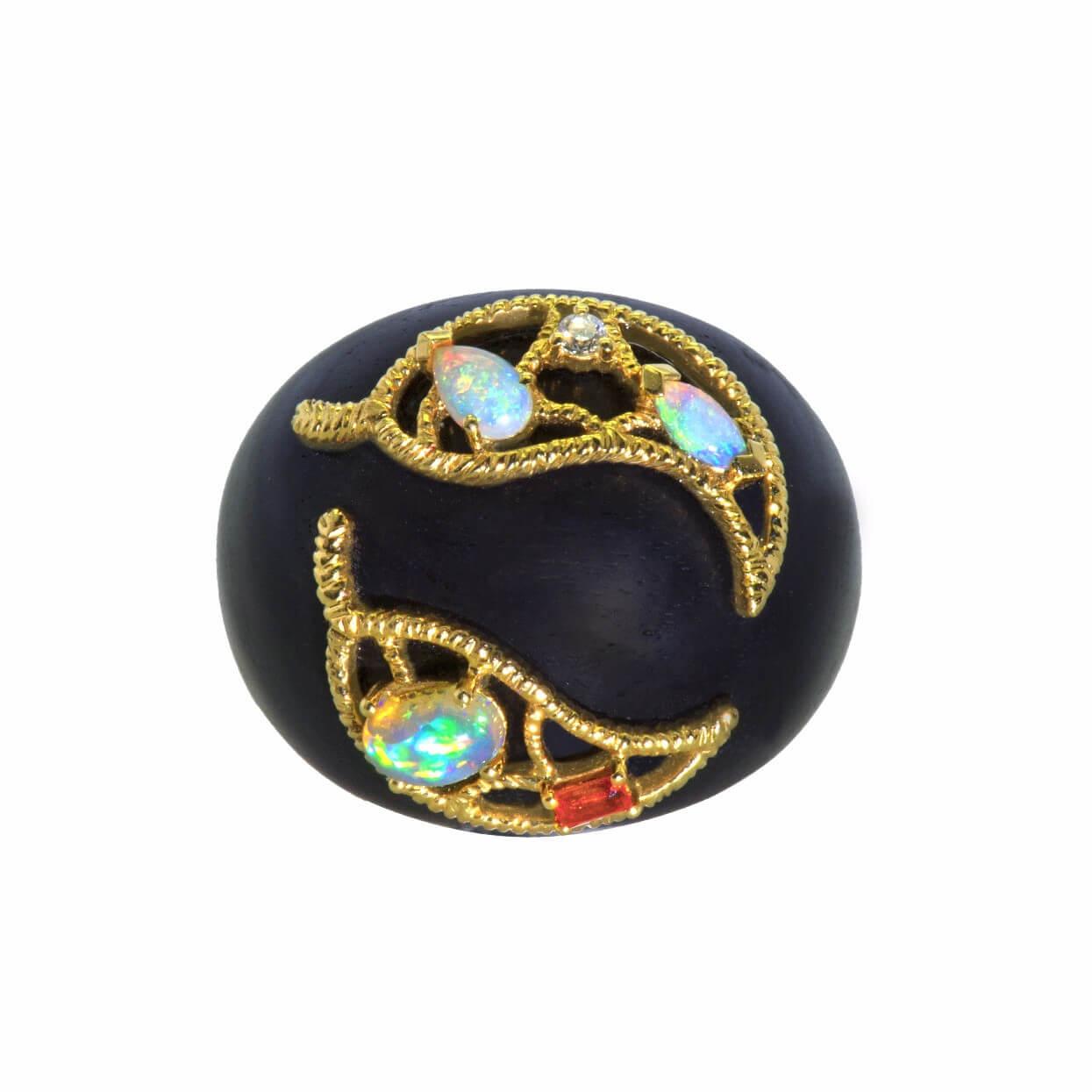 Ebene bague or jaune opale