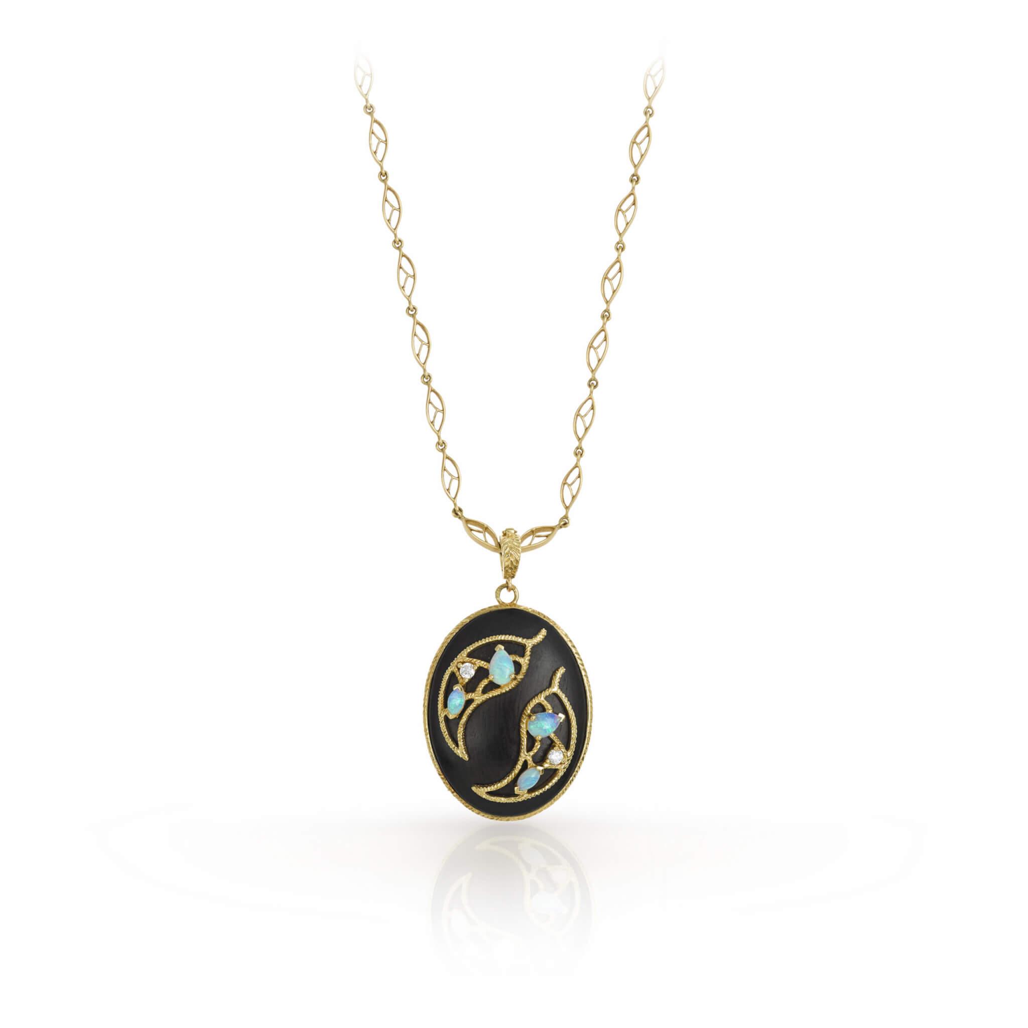 Ebene collier or jaune opale
