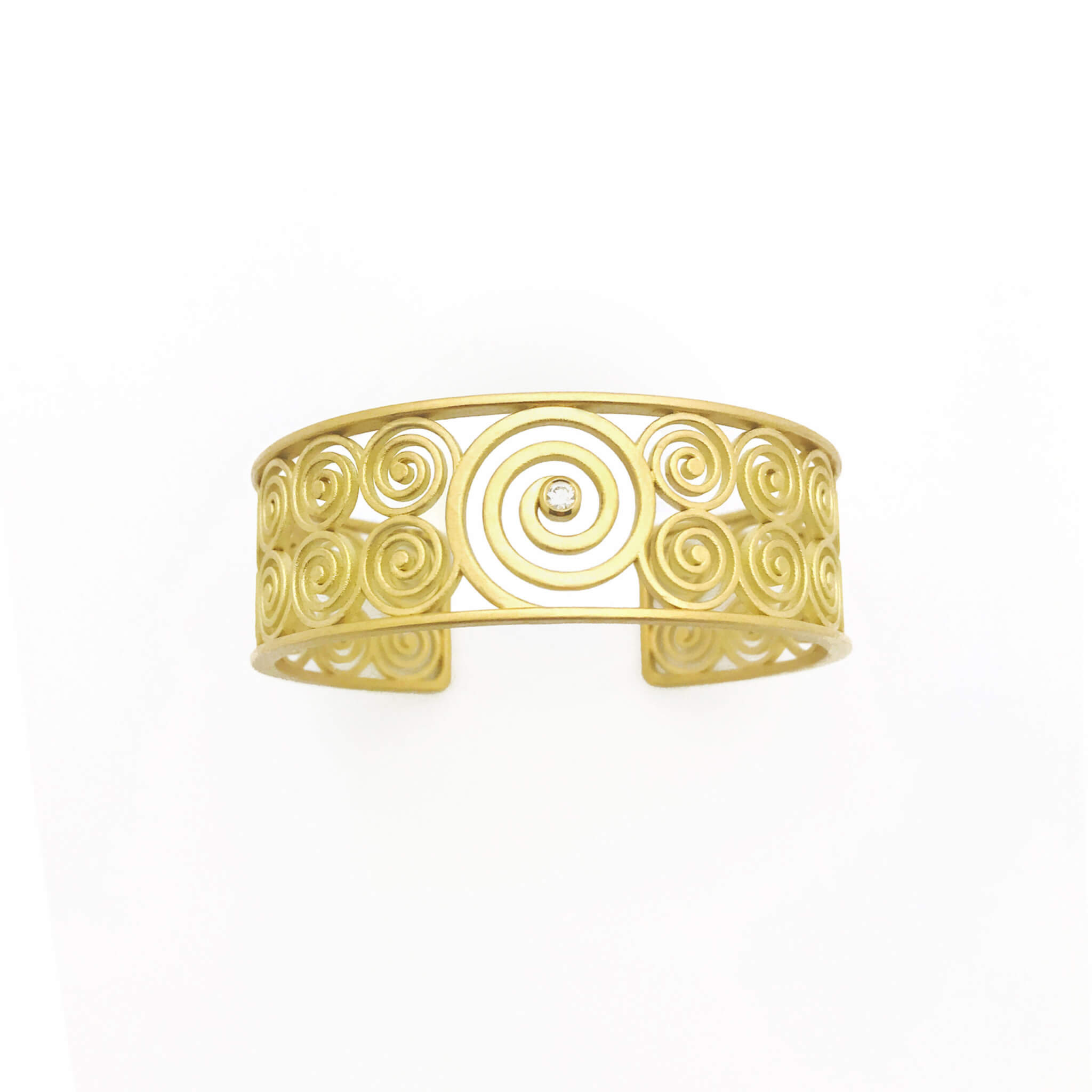 Spirale manchette or diamant