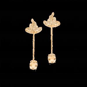 Missible boucles d'oreilles or rose saphirs jaunes