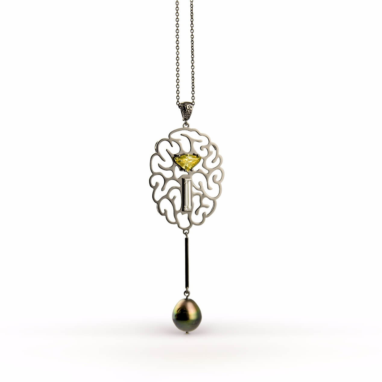 empreinte collier perle diamant jaune