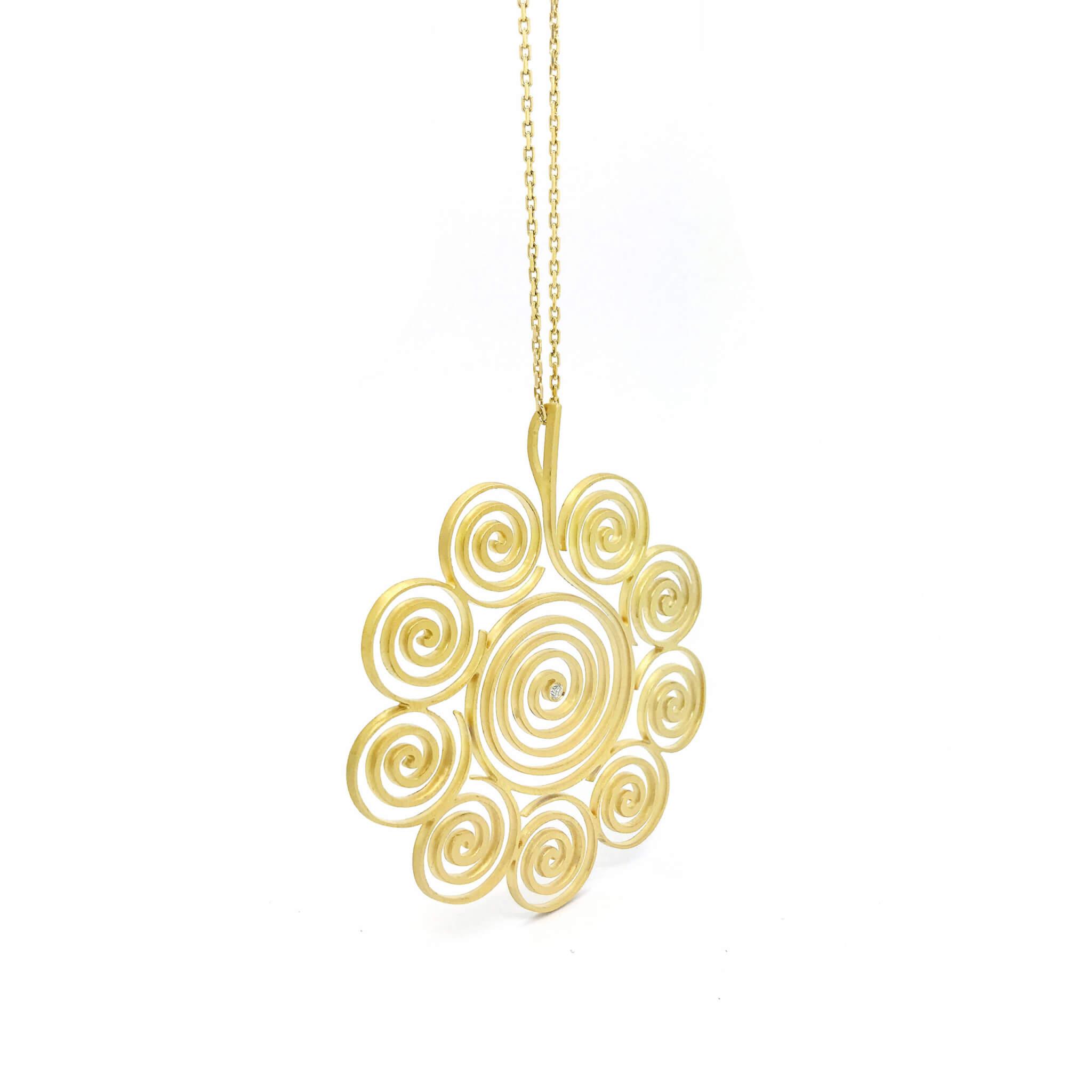 Spirale collier or jaune sable diamant