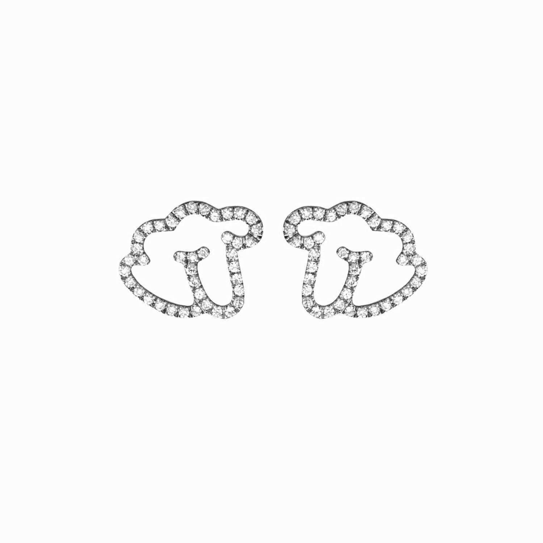 Empreinte boucle d'oreilles or blanc diamant