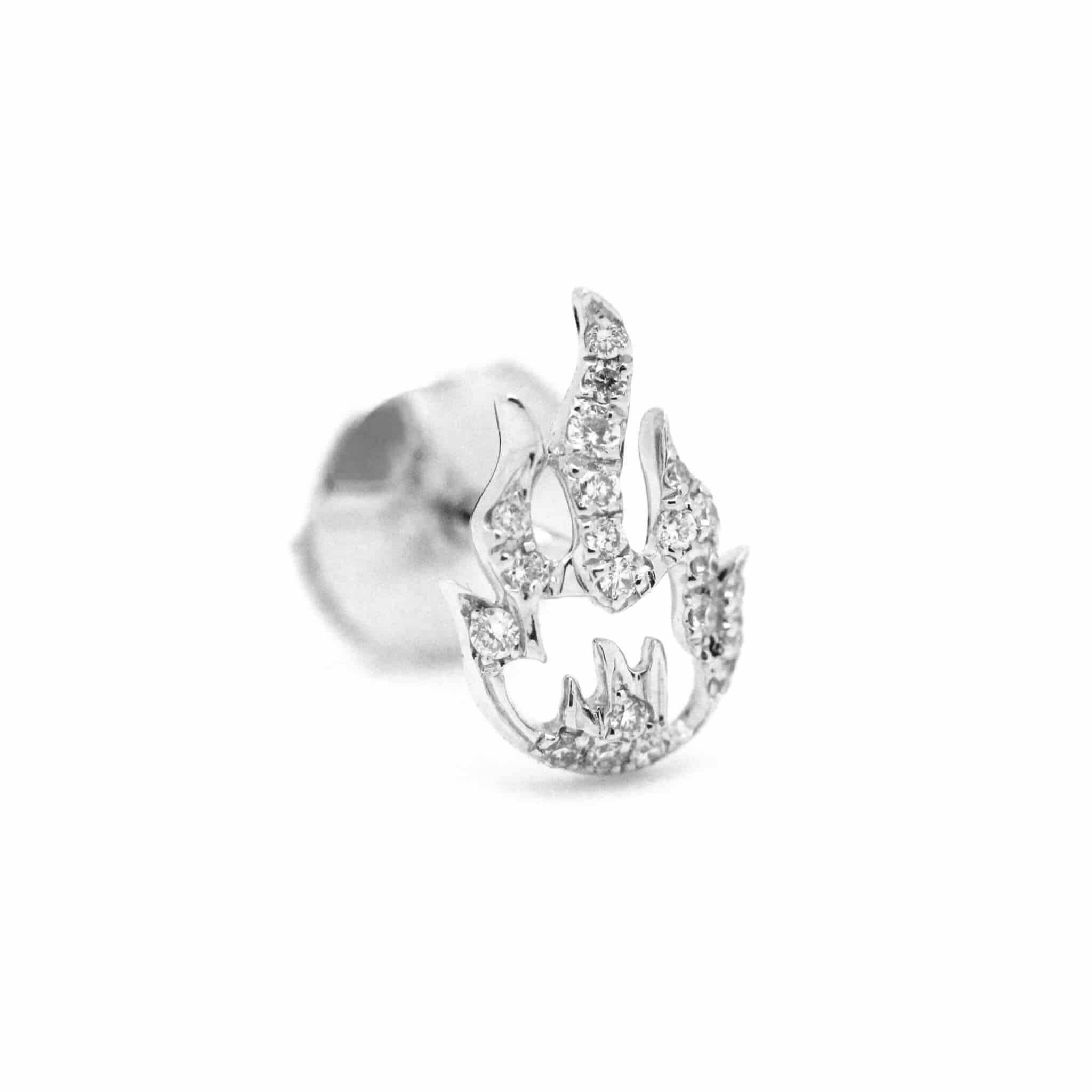 Flamme boucle d'oreille or blanc diamant