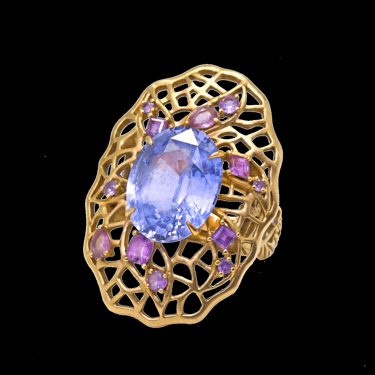 Feuille bague or rose saphir bleu