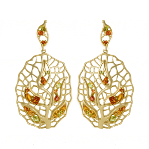 Feuille boucle d'oreilles or jaune saphir
