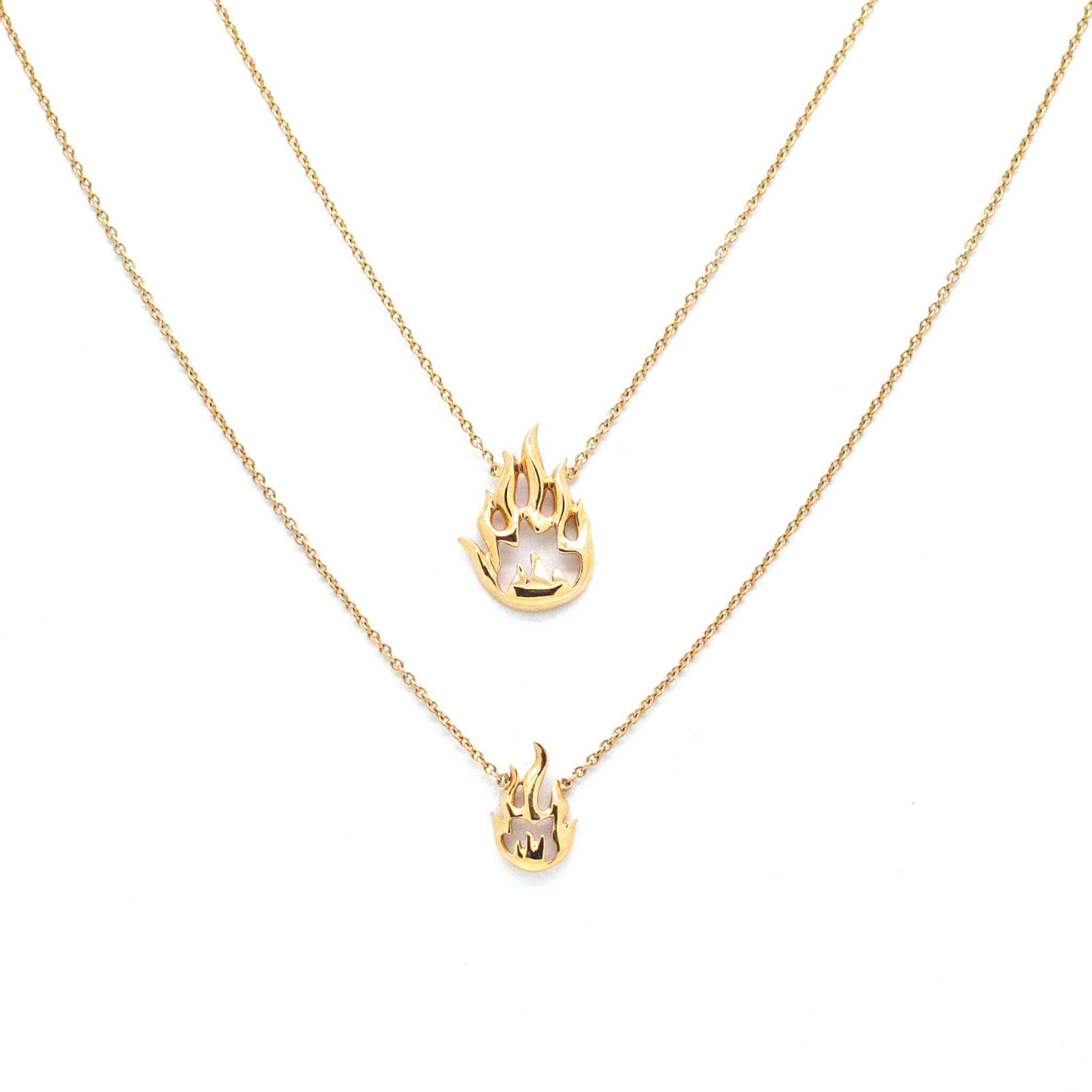 Flamme collier tout or