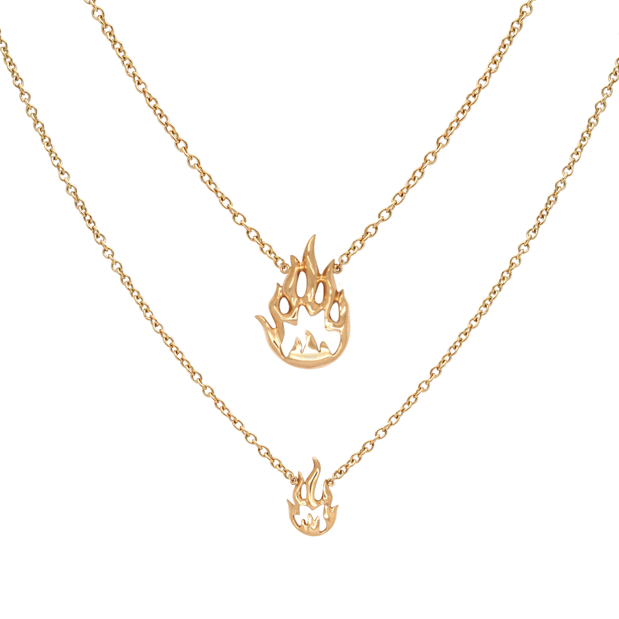 Flamme collier double or rose