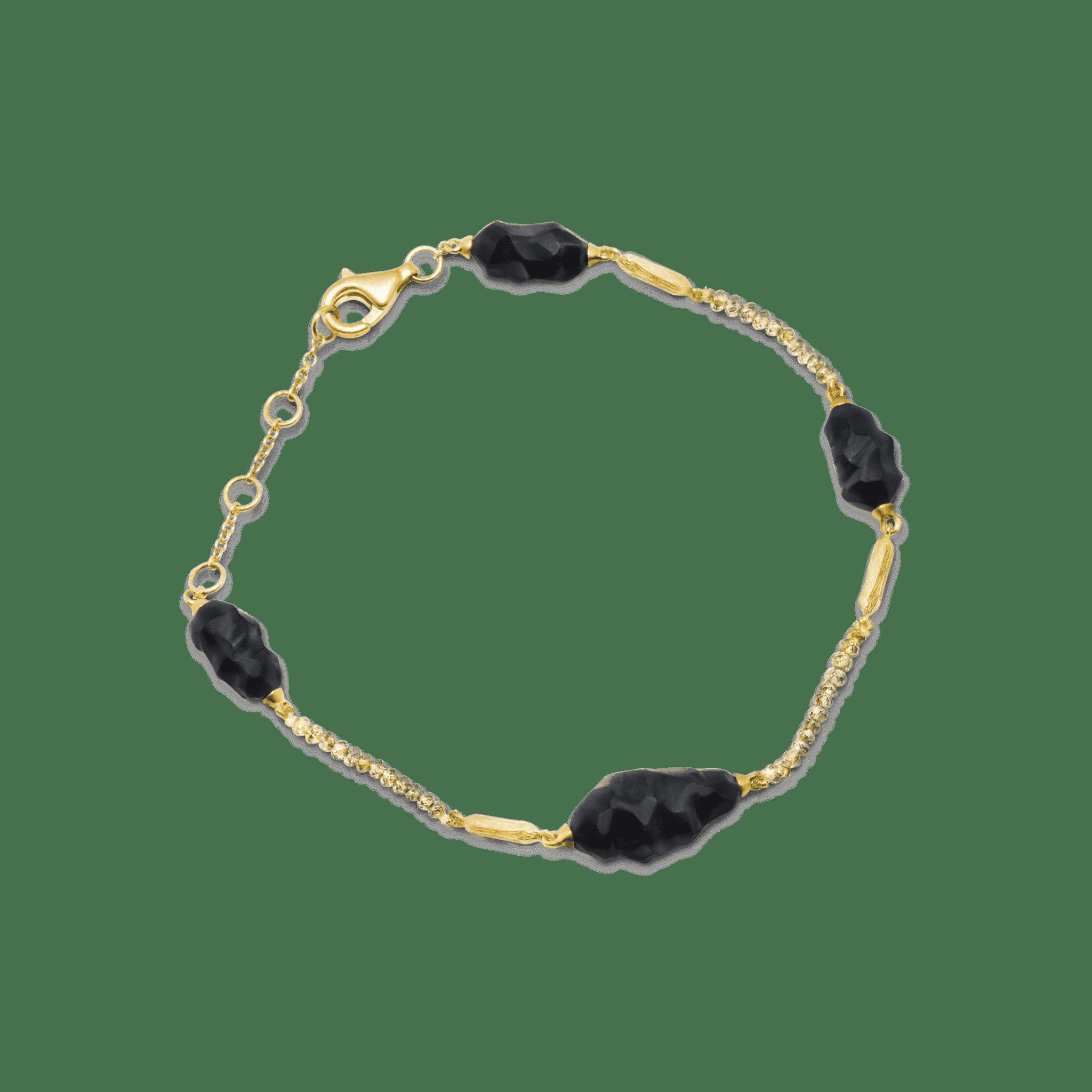 Terre bracelet or jaune briollets onyx