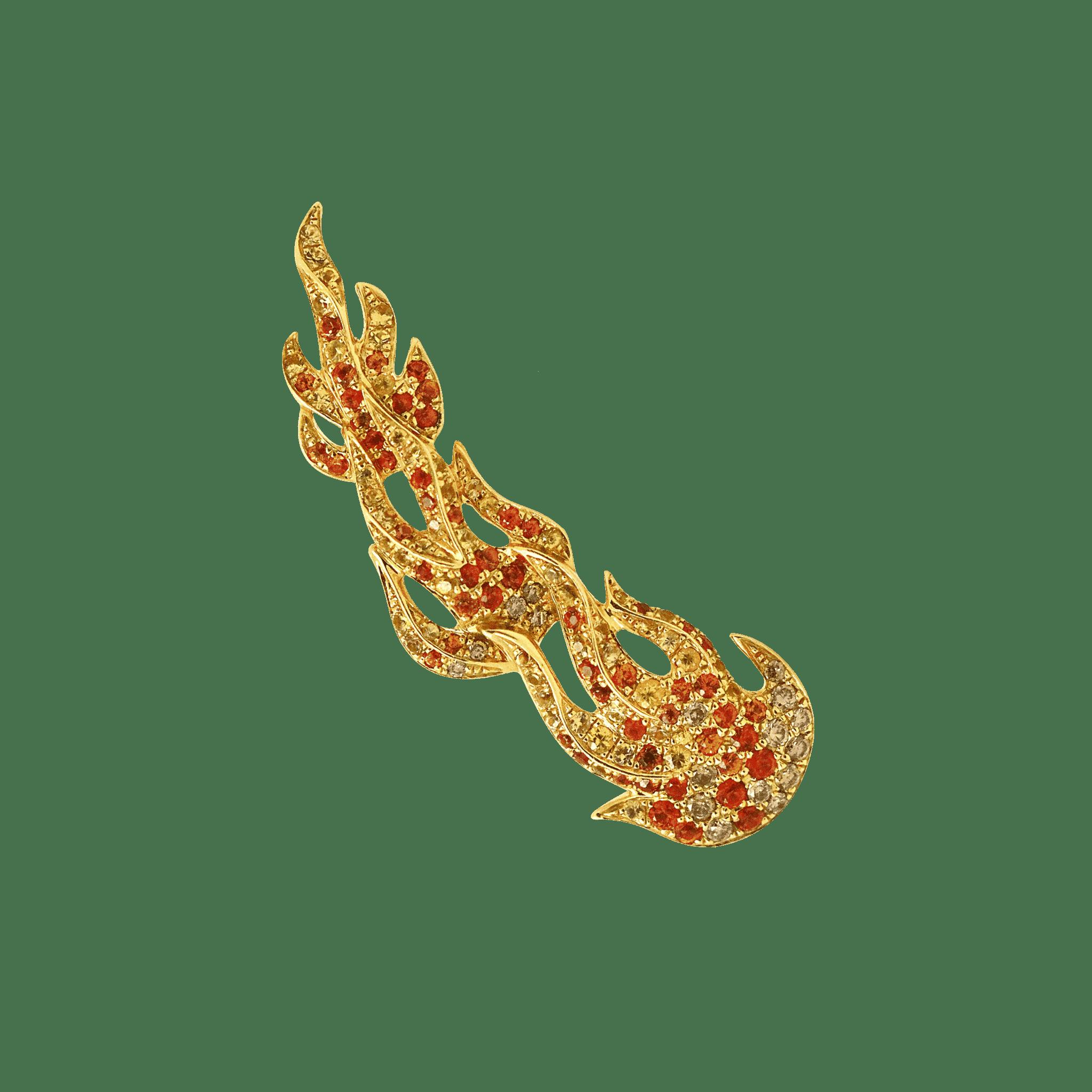 Flamme boucle d oreille or jaune saphir