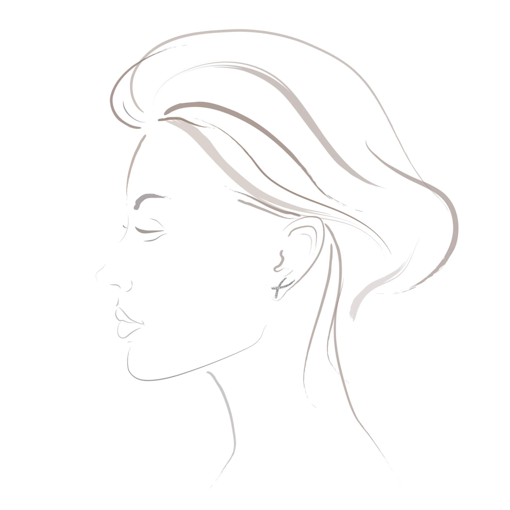 Duality boucle d'oreilles or blanc diamant