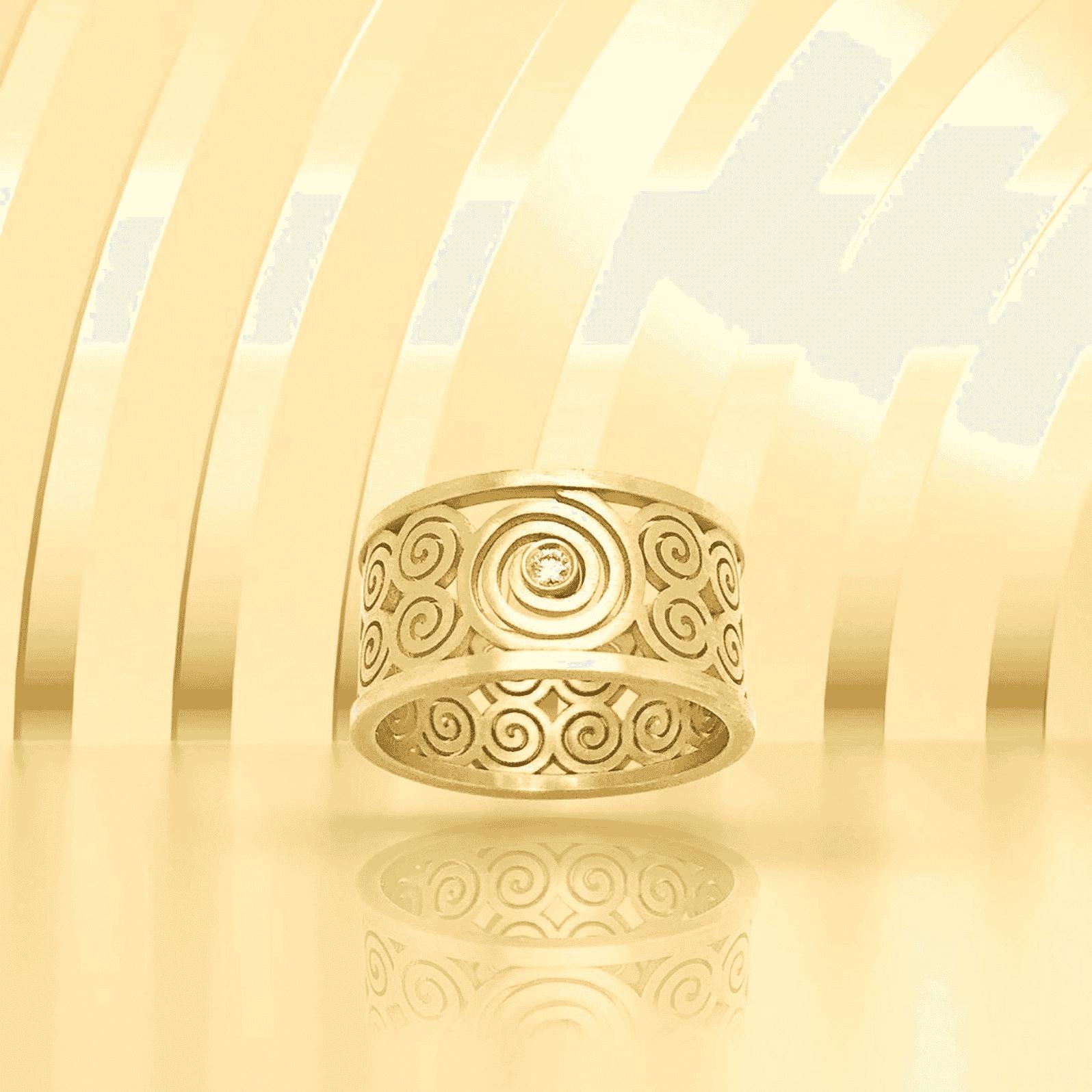 Spirale bague or et diamant