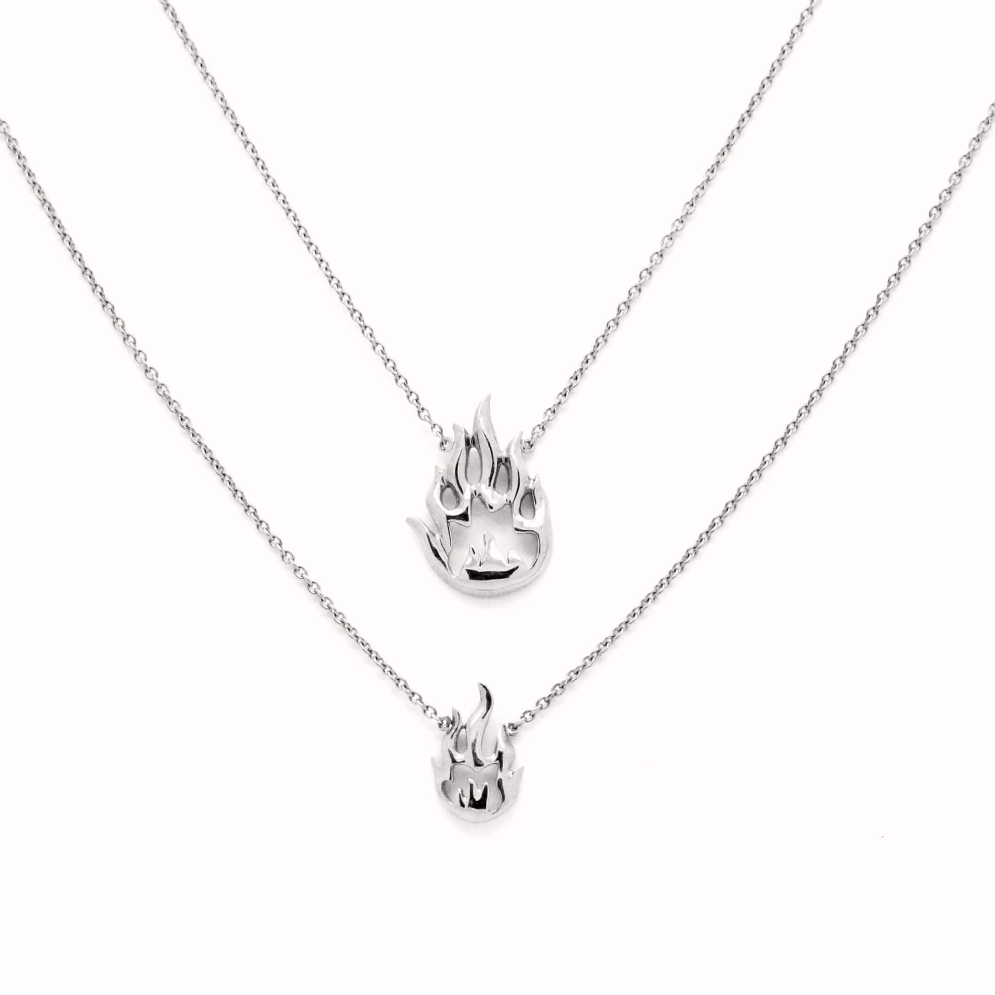 Flamme collier double or blanc