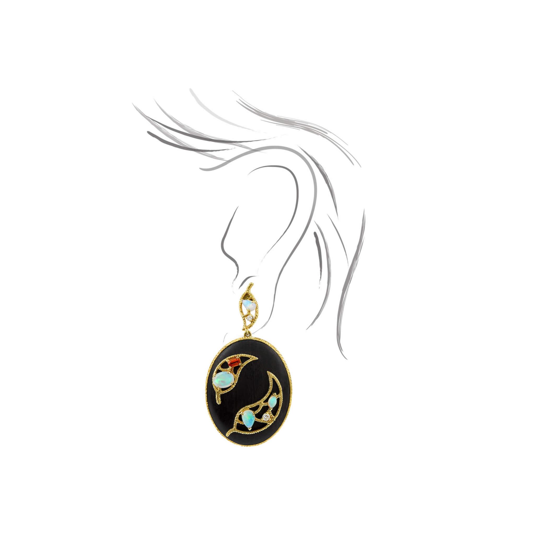Ebene boucle d'oreilles or jaune opale