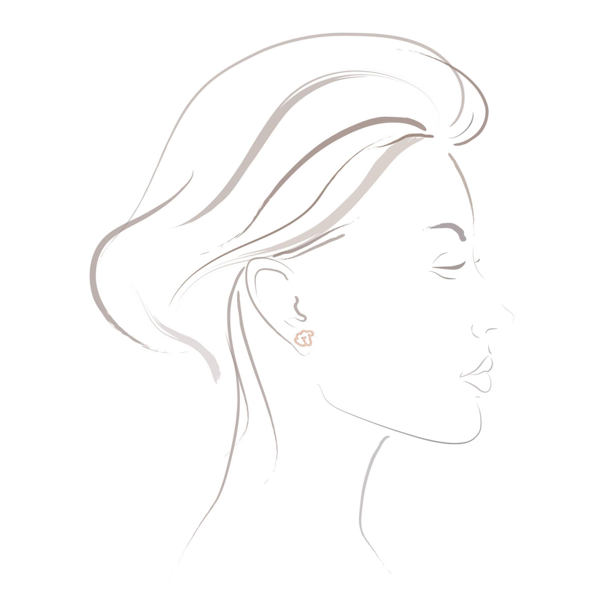 Empreinte boucle d'oreilles or blanc