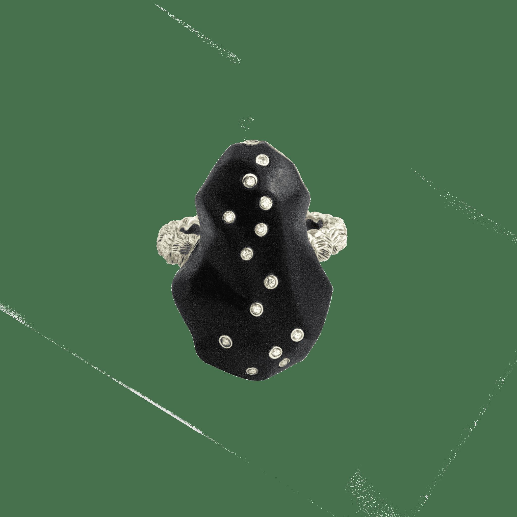 Terre bague onyx diamants