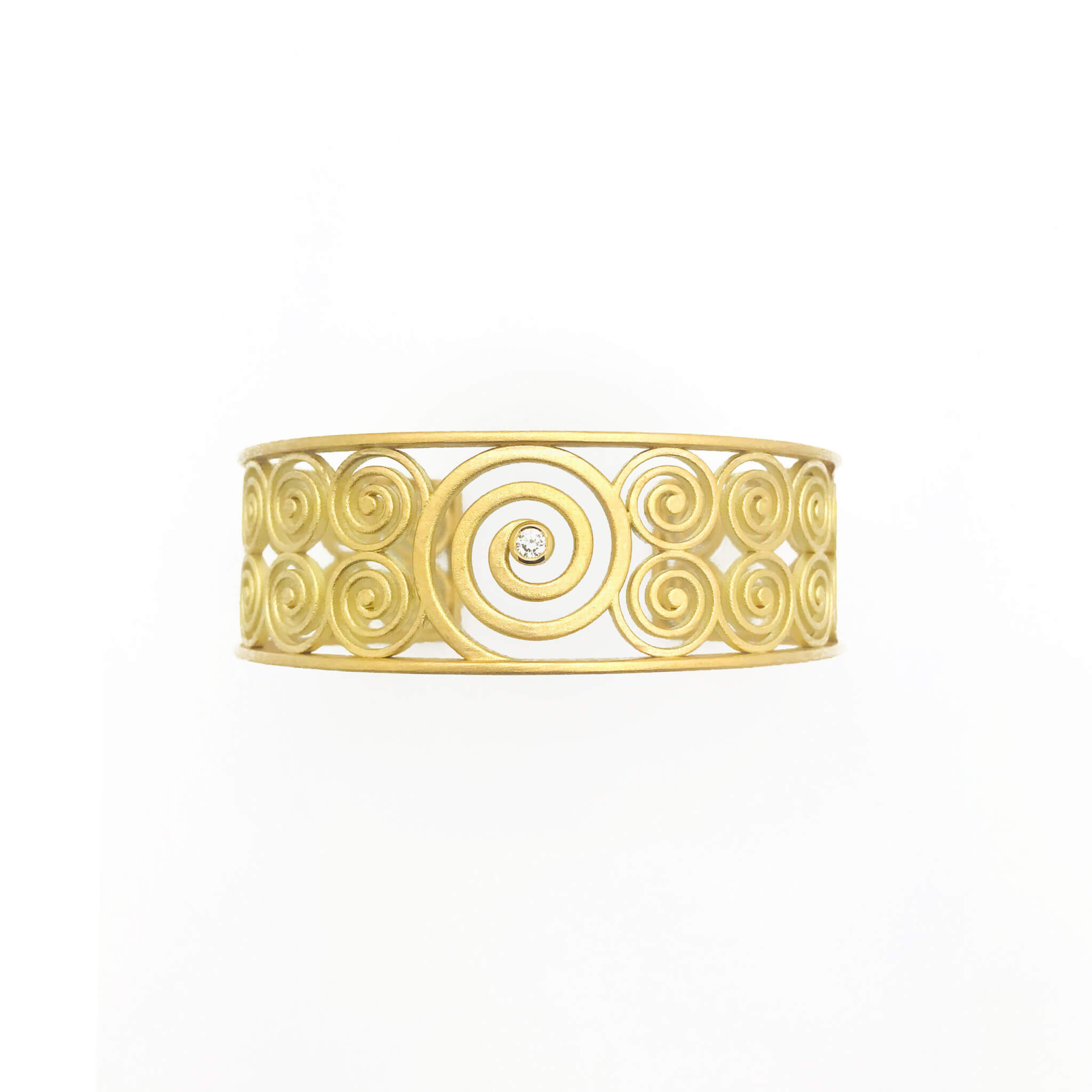 Spirale Manchette or jaune sable diamant